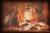 grunge image of Pirate still life of wine, hats, ropes, sinks, f