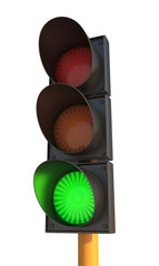 Green Traffic Light on Isolated Background