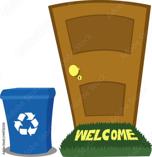 Door and Recycling Bin