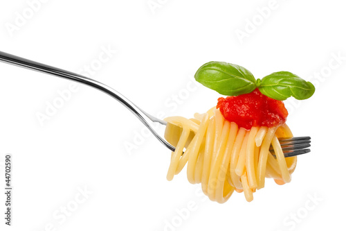 Leinwanddruck Bild pasta fork