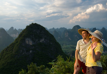 lovely couple on top of the Chinese mountain of Moon Hill