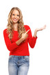 portrait of a beautiful blond lady pointing her finger towards b