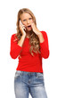 surprised blond woman talking on cellphone