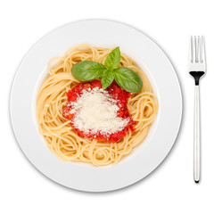 pasta dish with fork