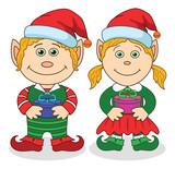 Christmas elves, boy and girl poster