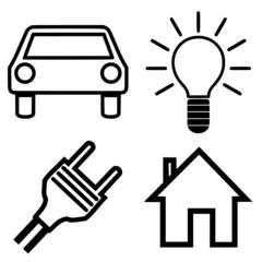 Symbole Haus Auto Lampe Stecker