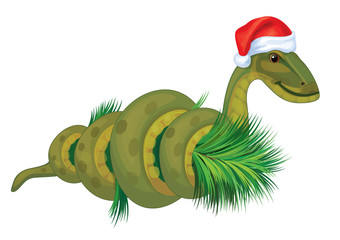 Vector of  snake, symbol of 2013 year in Santa's hat.