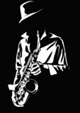Fototapety Vector image of the saxophonist