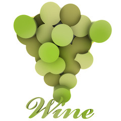 isolated green wine grapes vignette with sample text