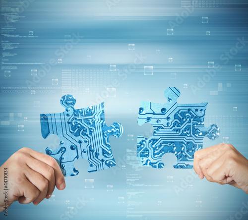 Leinwanddruck Bild System integration concept