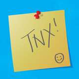 """tnx"" handwritten message"