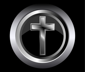 holy cross symbol of the Christian faith on a black metal button