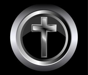 holy cross symbol of the Christian faith on a black metal button