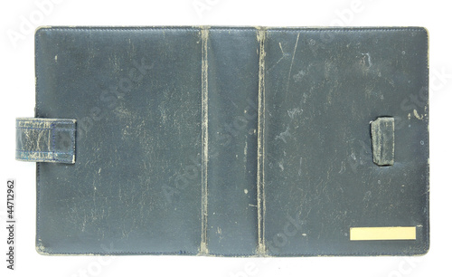 black old book cover isolated on white
