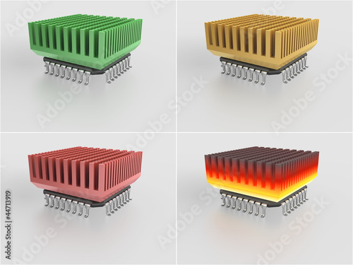 set - micro chip with heat sink