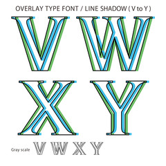 Overlay Type Font (Line Shadow Medium / V to Y) #Vector