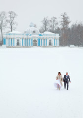 Just married walking holding hands on lake in winter season