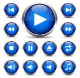 Player Button Set Dunkelblau