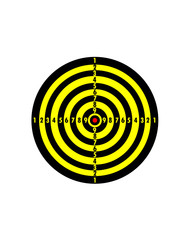 Target is striped with yellow and black lines