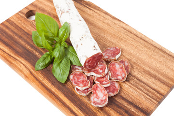 spanish sausages on wooden textured background