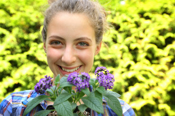 Teenager with flowers