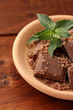 Pieces of chocolate and mint