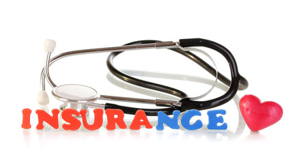 concept of health insurance isolated on white