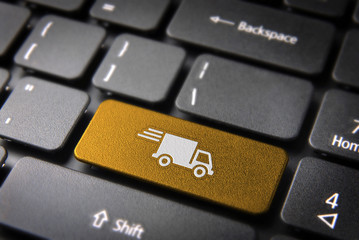 Yellow delivery keyboard key cargo business background