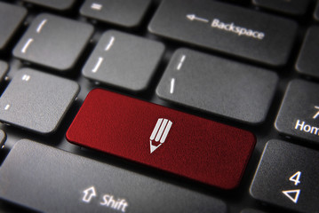 Red keyboard pencil key art background