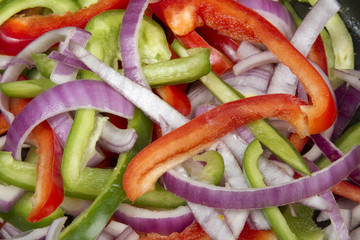 Colorful Peppers and Onions