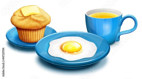 Illustrated breakfast with Muffin,Eggs and Orange Juice