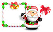 Whimsical Cartoon Santa in Front of Blank Sign