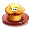Whimsical Cartoon Muffin on Plate