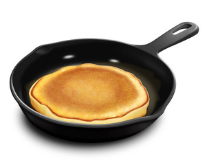 Illustrated Pancake in Frying Pan