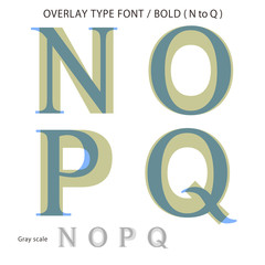 Overlay Type Font (Bold / N to Q) #Vector