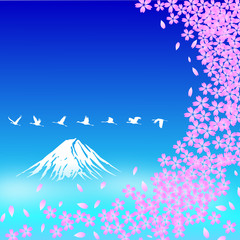 Fuji Mt. with Cherry flowers. vector file
