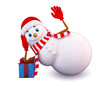 illustration of snow man with gift