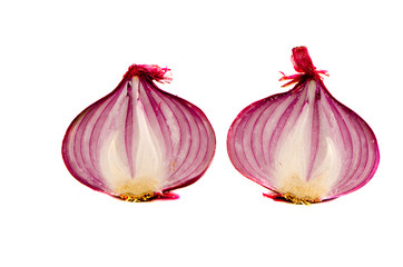 isolated on white two slices red onions
