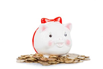 White the pig-coin box to stand on a heap of coins