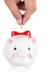 female hand lowers a coin in a pig-coin box