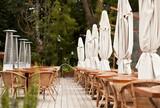 Fototapeta Summer restaurant terrace. End of the Season.