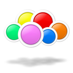 Cloud computing concept blank colorful buttons