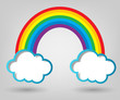 poster template. clouds and rainbow