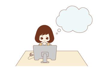 パソコンをする主婦