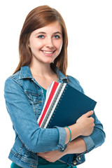 Studentin mit Unterlagen