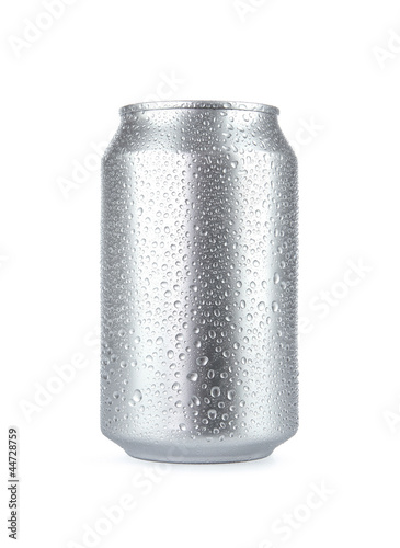 Wet aluminum soda can isolated on white background