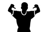 A silhouette of a sport fan giving thumbs down