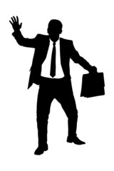 A silhouette of a confused businessman