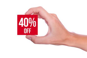 40 Percent off symbol handheld isolated on white background