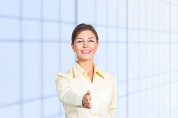 Business woman greeting